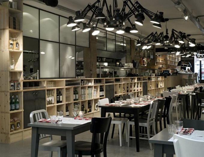 Concept interiors industrial restaurant in amsterdam for Amenagement restaurant interieur