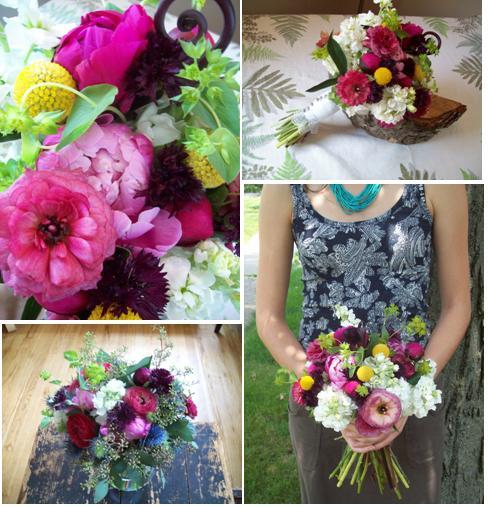 sweet pea floral design ann arbor, bride, wedding, bouquet, whimsical Bouquet ranunculus, peonies, stock, crasepedia, bachelor button, buplerum, seeded eucalyptus, blue thistle ,Sea Holly