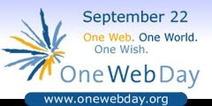 OneWebDay banner, One Web, One World, One Wish. Onewebday was founded by Susan Crawford, logo published on good news blog by Isabella Lychowski