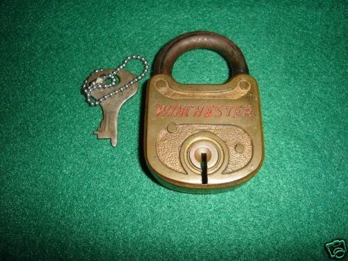 restraintsblog 1920s winchester brass padlock lock w key rare model. Black Bedroom Furniture Sets. Home Design Ideas