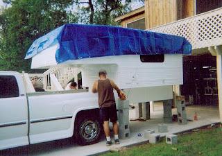 backing truck up underneath camper - Home Built Truck Camper Plans