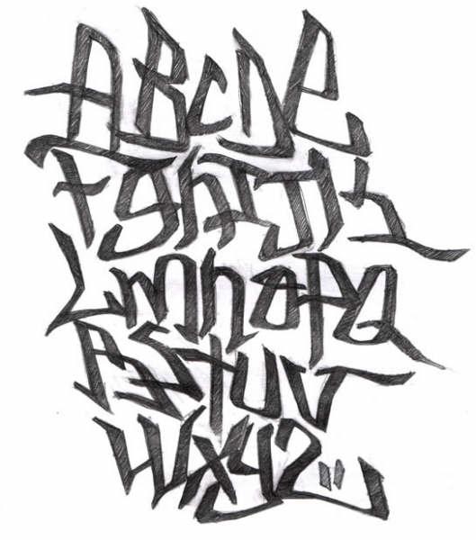 abecedario en graffiti. Abecedario graffiti estilo 3: