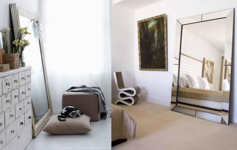 mirror against one of the walls instant interest and style added