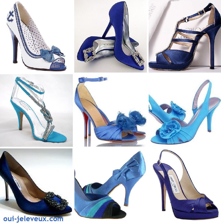 chaussures de mariée bleues
