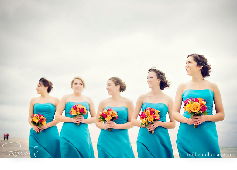 Robe de mariee bleu turquoise et orange