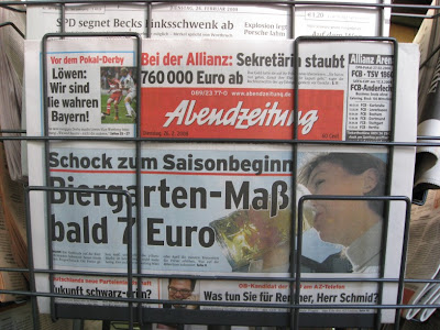 A shock to begin the season: A liter of beer in the beer gardens will cost almost 7€ ($10.58)