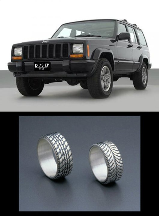 my MOST beloved soontobe Jeep Cherokee and tireshaped wedding ring