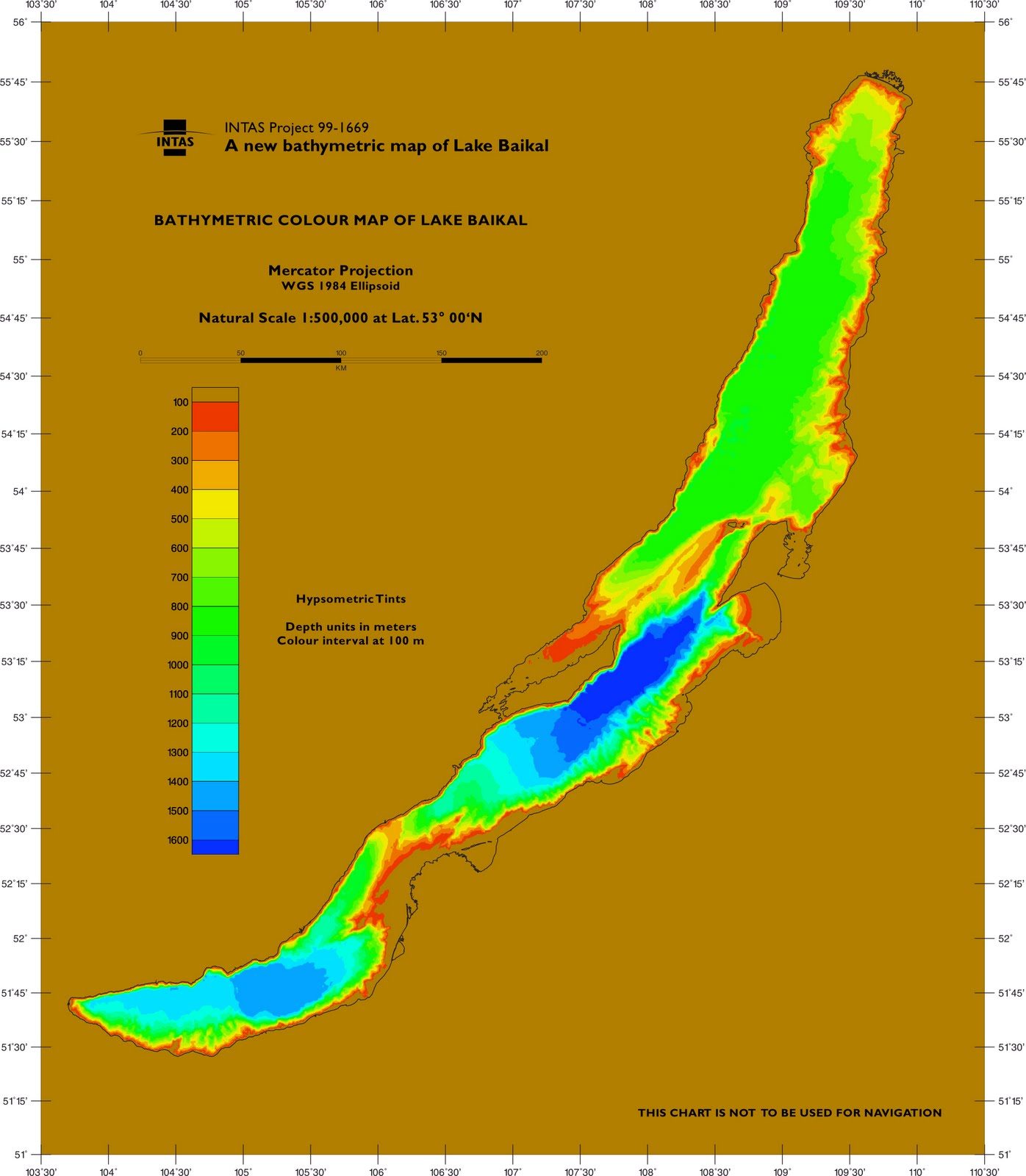 Bathymetry Color Map of Lake Baikal