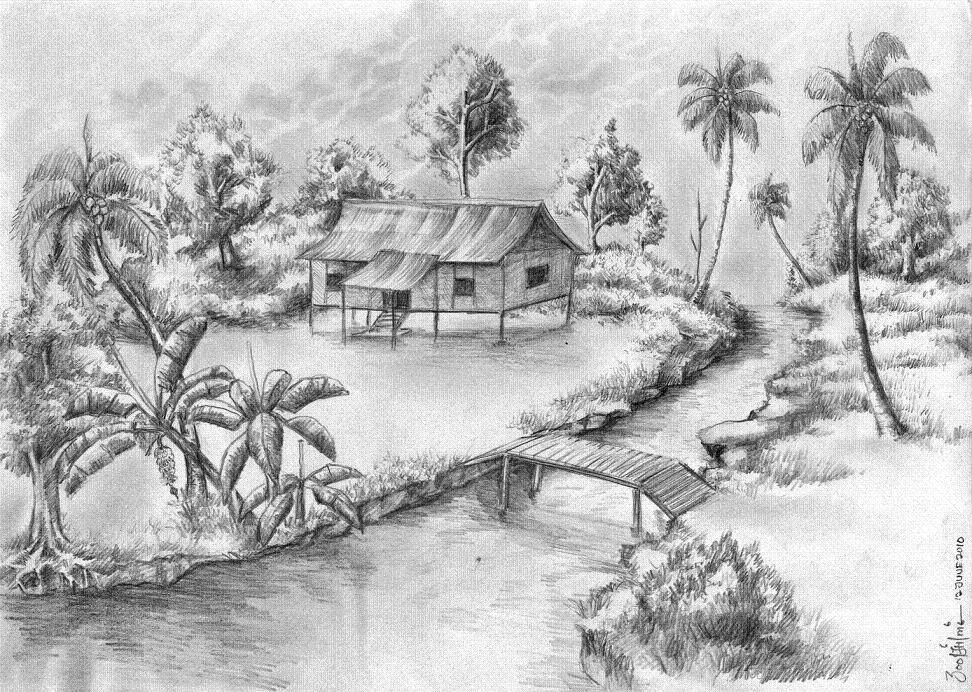 lukisan gambar rumah holidays oo