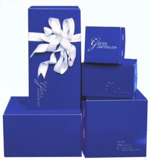 Sapphire blue gift boxes from  Gift Box Corporation of America 800giftbox.com