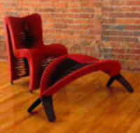 The Seat Belt dining chair and leaf bench are from furniture wholesaler The Phillips Collection.