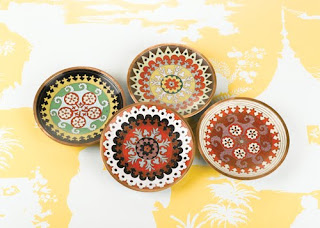 four decorative plates from tozai home, two's company, high point furniture market exhibitor, gift & home today blog