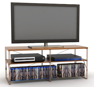 Atlantic's TV media furniture includes the Berlin collection in cherry wood and copper