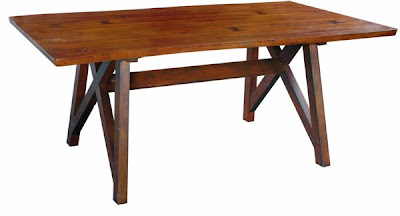 Turning House Furniture makes tables from wood reclaimed from old buildings. It exhibited at the High Point Market. It is based in Bassett, Va.