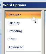Popular in word options dialog box
