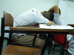 student asleep in class