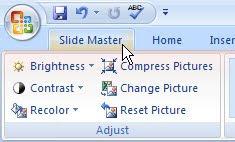 slide master tab PowerPoint 2007
