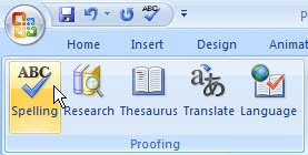 spelling button PowerPoint 2007