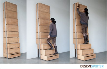 Staircase Is A Shelving Unit That Combines A Bookshelf With A Pullout Stair  System In The Bottom Three Shelves. Designer: Danny Kuo ...