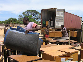A Container sent by the Furniture for Education Charity