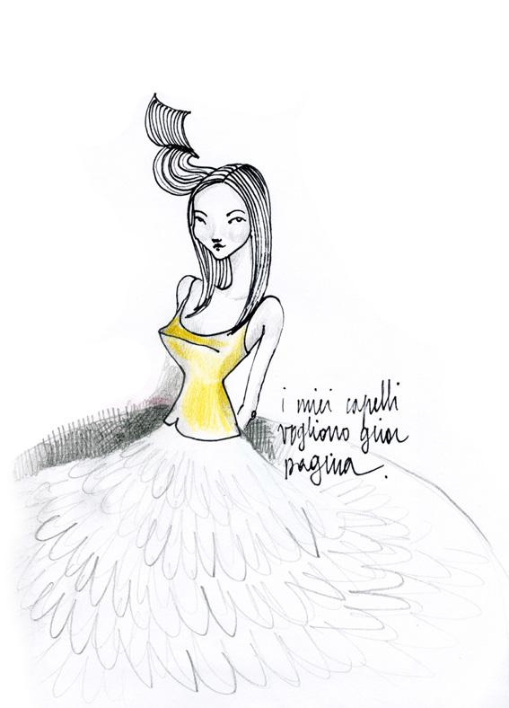 illustrazione capelli francesca ballarini gira pagina