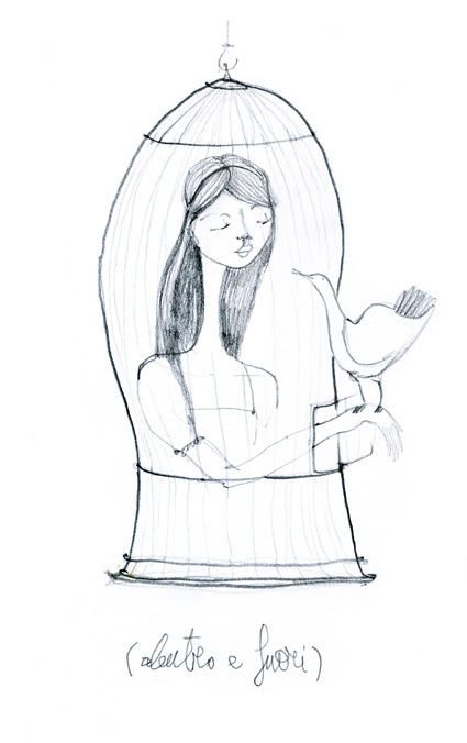 illustrazione disegno francesca ballarini gabbia d'amore