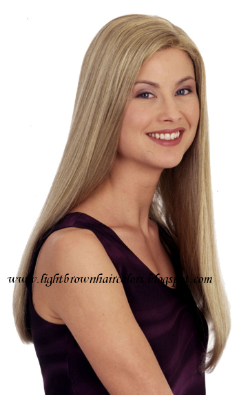 hair with chunky highlights. Light brown hair with chunky