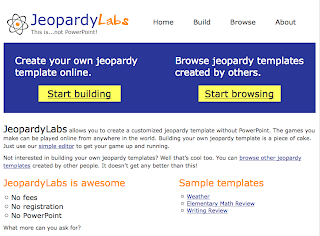 Jeopardylabs online jeopardy smartboardtalk jeopardylabs allows you to create a customized jeopardy template without powerpoint the games you make can be played online from anywhere in the world maxwellsz