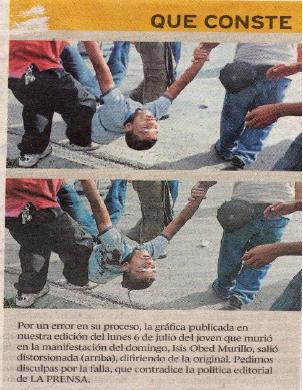 Foto de Isis Obed Murillo aparecida en el diario La presan. la foto imagen de arriba está manipulada, la de abajo es la real.
