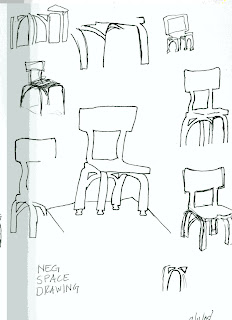 neal mickey negative space drawing chair