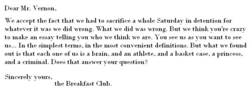 Ending Letter From The Breakfast Club