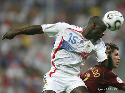 Lilian Thuram Hitting Ball With His Head