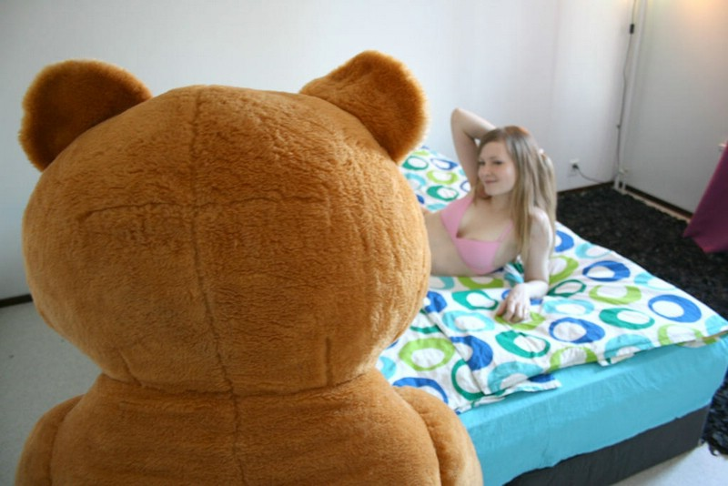 Teddy bear suit fuck party