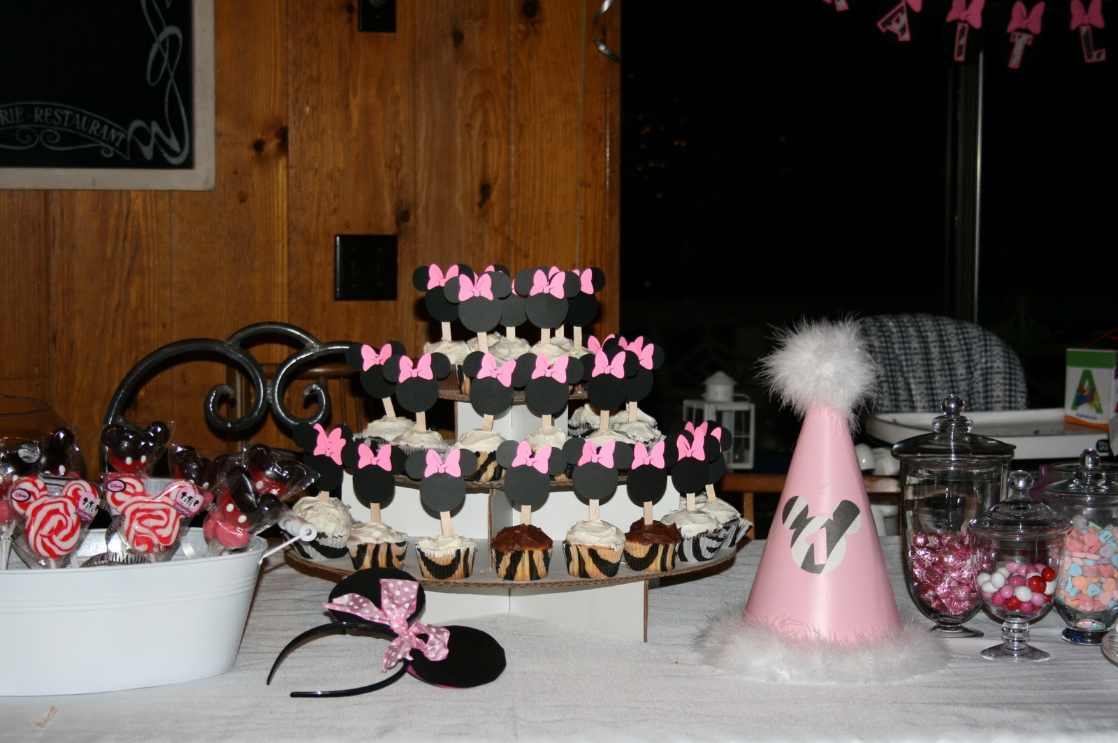 I Make The Minnie Mickey Banners Customized By Name And Birthday Hats Favor EarsWe Made Ears Out Of Headbands For All