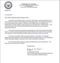 US ARMY CENTER OF MILITARY HISTORY INVITATION TO PRESIDENT STRATEGICUS INC
