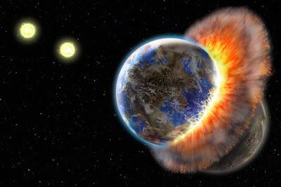 Ilustración de dos planetas en colisión