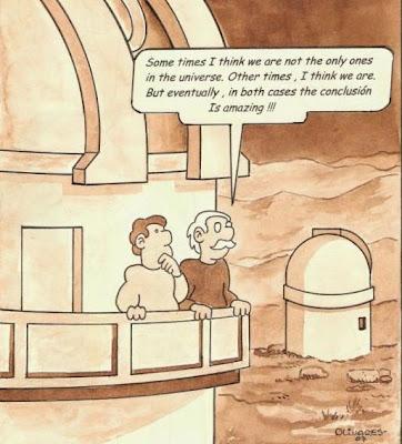 Caricatura Vida en el universo, por Herman Olivares