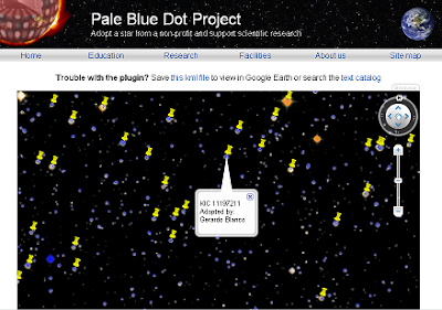 Captura de imagen del sitio The Pale Blue Dot Project