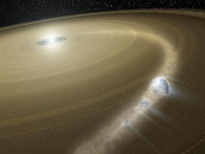 Ilustración de un cometa destruído por una estrella