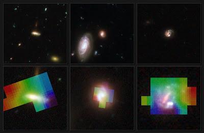 Las tres galaxias del estudio vistas por Hubble y el gas visto por VLT