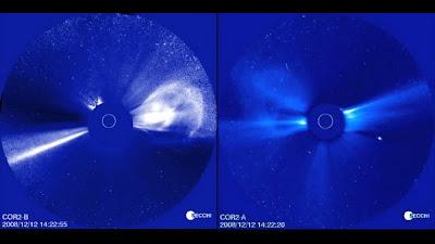 Ilustración de una eyección de masa coronal el 12-13 de diciembre de 2008