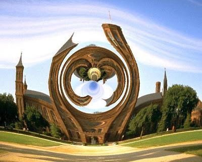 Castillo en el Mall, magnificado por lente