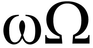 Letras Omega (mayúscula y minúscula) del alfateto griego