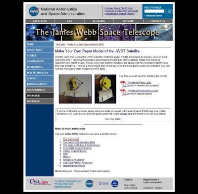 Captura de pantalla del sitio web JWST
