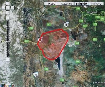 Mapa de Malargüe y el Observatorio Pierre Auger