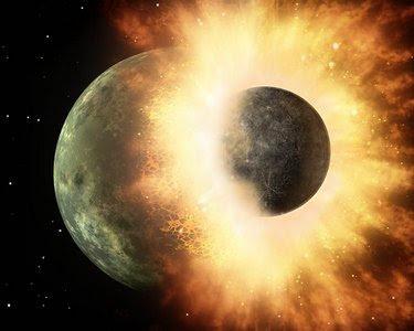Ilustración de una gigante colisión de planetas