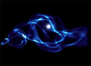 Imagen de simulación de agujeros negros primitivos
