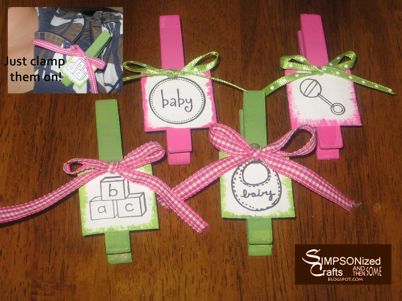 Cheap baby shower decorations best baby decoration for Baby shower clothespin decoration