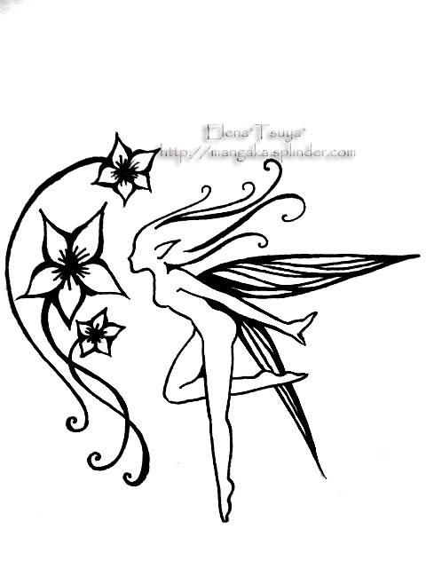 Fairy and Flower Tattoo Designs