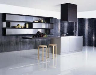 minamlist modern silver kitchen interior
